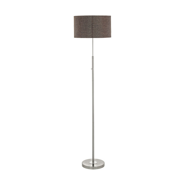 Eglo 1x26w Led Floor Lamp W/ Satin Nickel/chrome Finish & Brown Linen Shade - 95344A