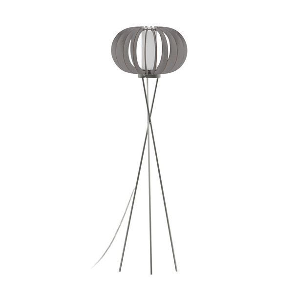 Eglo 1x60w Floor Lamp W/ Matte Nickel Finish & Grey Wood Shade & White  Glass - 96764A