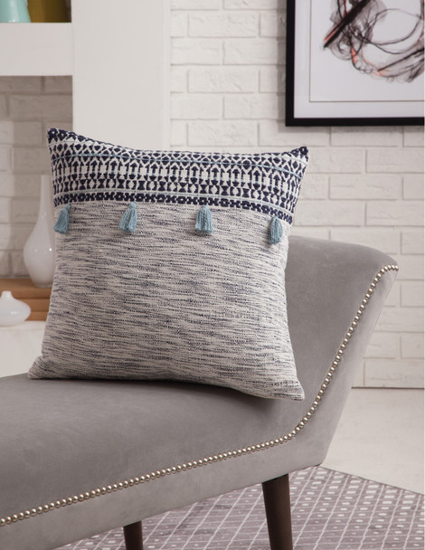 Abacasa Blake 6908 Hand Made Bohemian Abacasa Blake Orion Navy/white Throw Pillow - 18 X 18 Square Pillows