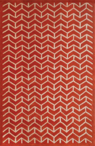 Abacasa Lifestyle 9862 Hand Tufted Transitional Abacasa Lifestyle Avenue Orange / White Area Rug - 5 X 8 Rectangle Area Rug
