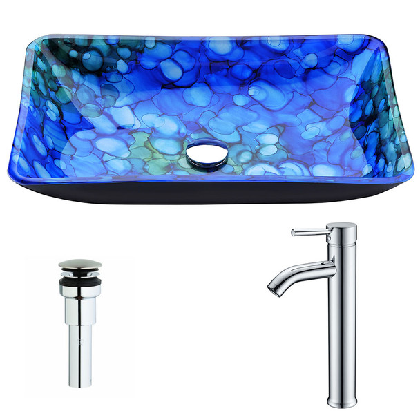ANZZI Voce Series Deco-glass Vessel Sink In Lustrous Blue With Fann Faucet In Brushed Nickel - LSAZ040-040