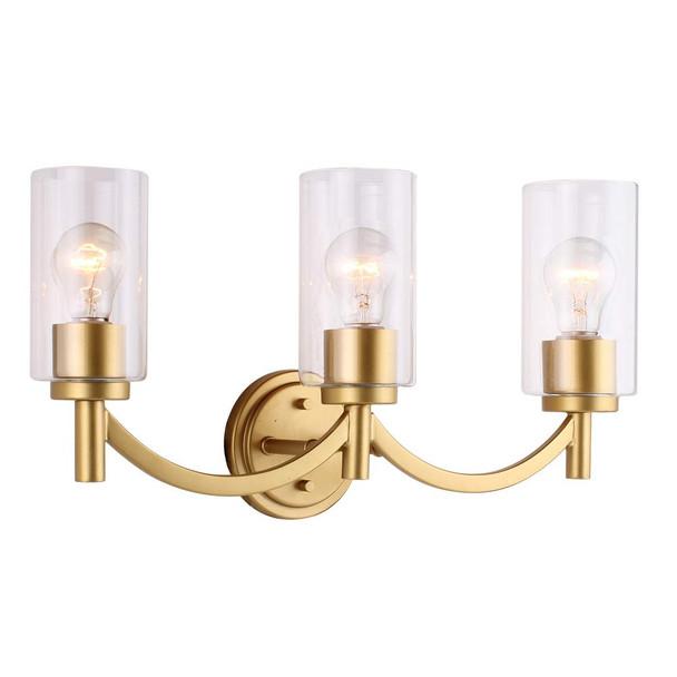 Eglo Lighting 203749A Devora - Three Light Bath Vanity, Antique Gold Finish with Clear Glass