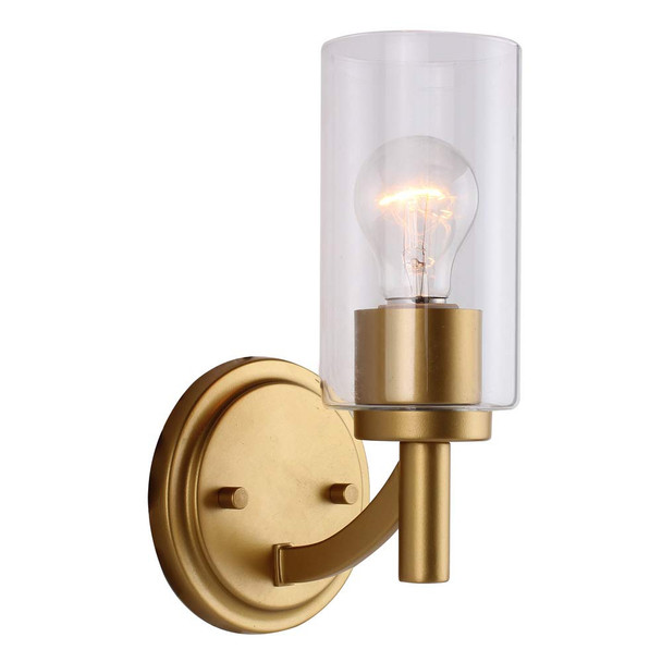 Eglo Lighting 203747A Devora - One Light Bath Vanity, Antique Gold Finish with Clear Glass