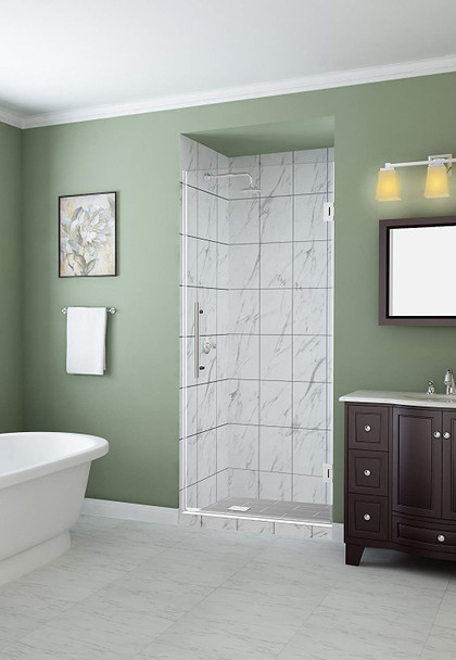 "Aston Kinkade 34"" x 72"" Completely Frameless Hinged Alcove Shower Door with StarCast Clear Glass, Polished Chrome"