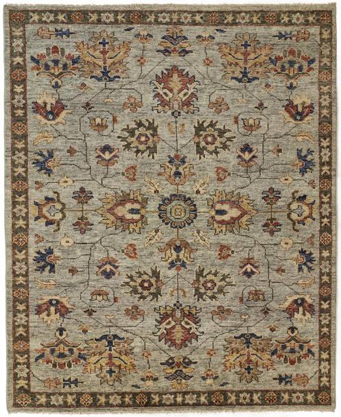 Feizy 6503FGGY Carrington Hand Knotted Gray / Gold Area Rugs