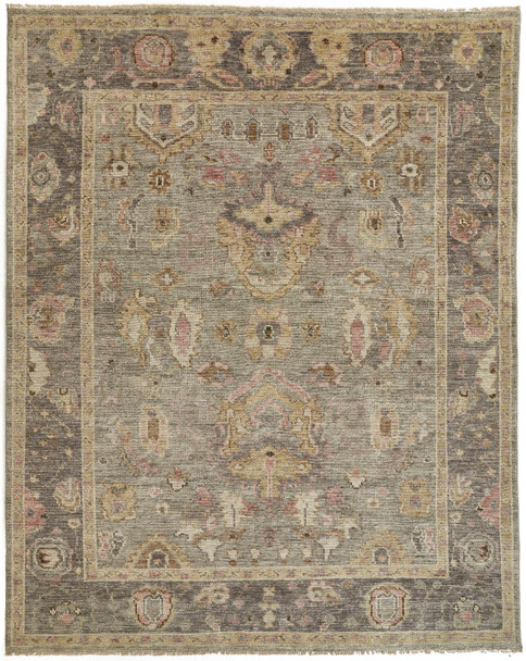 Feizy 6504FGRY Carrington Hand Knotted Gray / Gold Area Rugs
