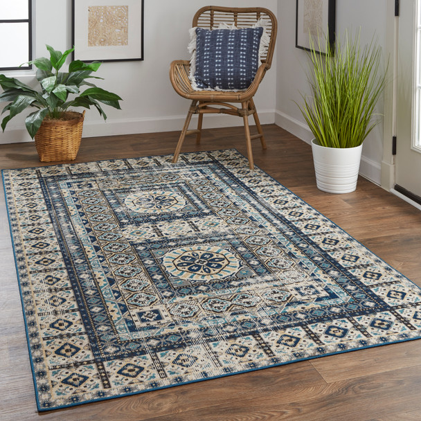 Feizy 39BYFGRY Nolan Power Loomed Blue / Beige Area Rugs