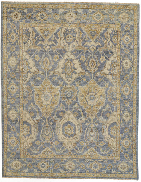 Feizy 6502FLBL Carrington Hand Knotted Blue / Gold Area Rugs