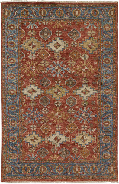 Feizy 6505FORN Carrington Hand Knotted Rust / Blue Area Rugs