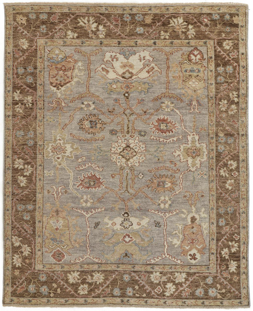 Feizy 6506FGRY Carrington Hand Knotted Gray / Brown Area Rugs