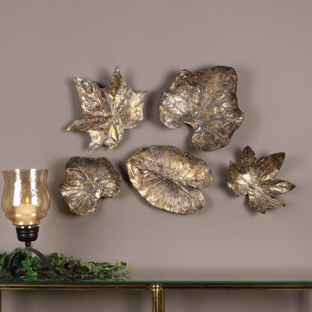 Uttermost Bronze Leaves Wall Art Set/5