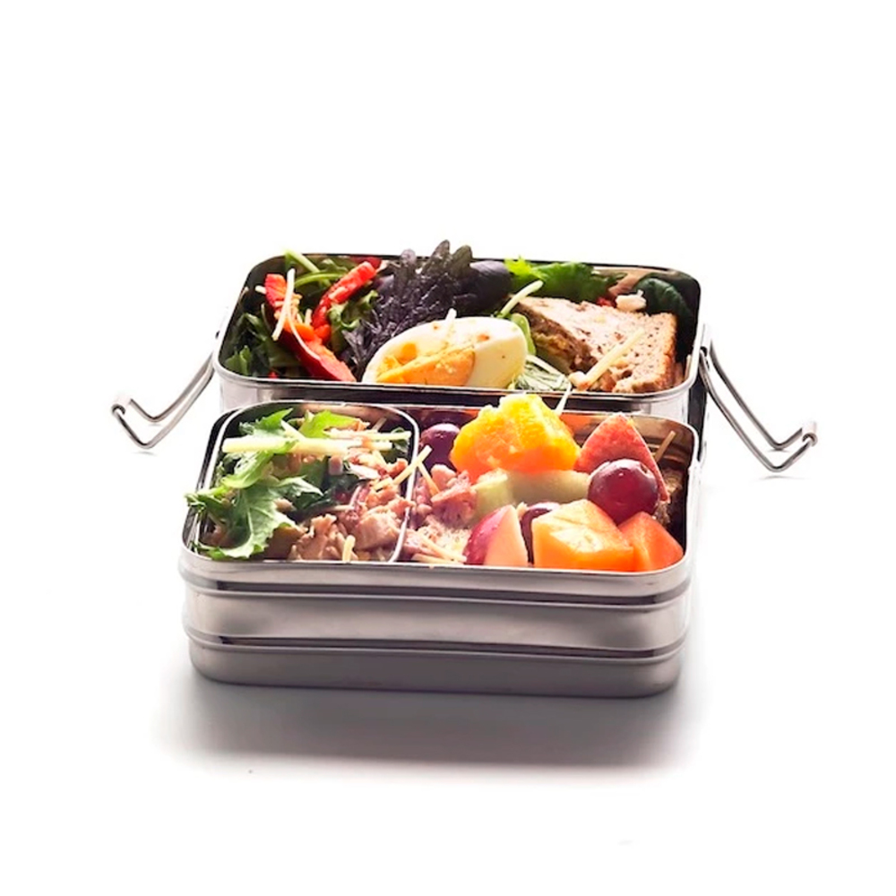 Stainless Steel 2-layer Rectangular Lunchbox