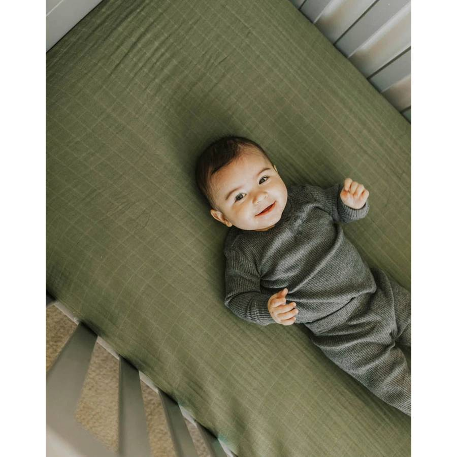 Muslin Fitted Cot Sheet - Solids