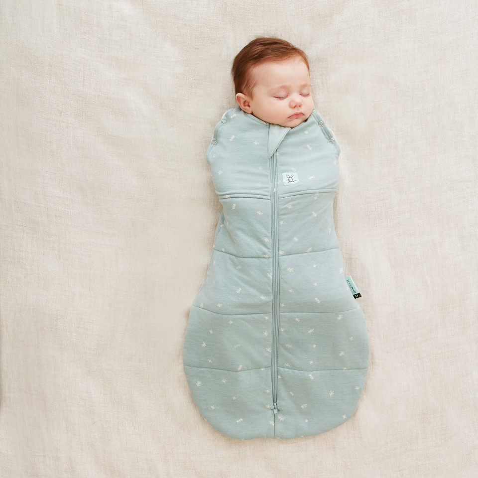Baby in Ergopouch 2.5 Tog Cocoon Swaddle