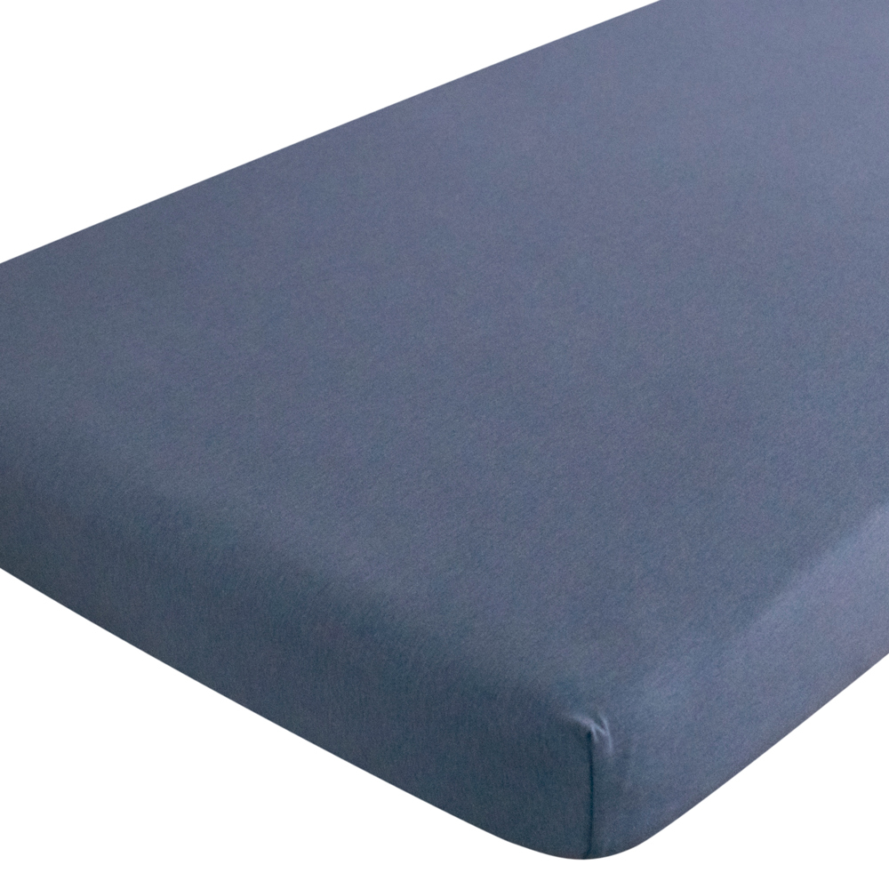 Organic Jersey Fitted Sheet - Blue