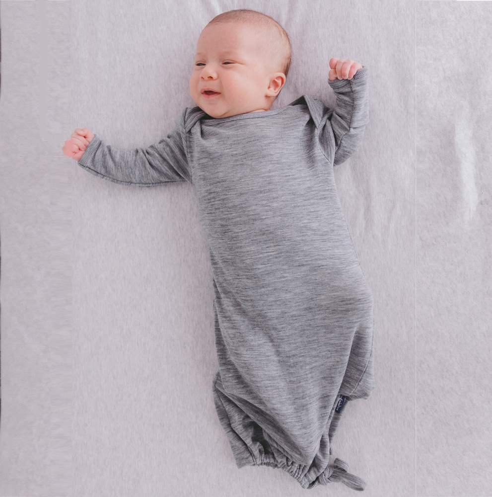 Deluxe Merino Rib Baby Gown - Prem