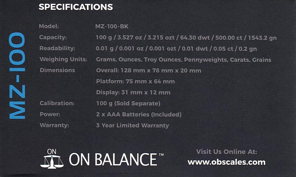OnBalance Myco Scales 100g.01g Specs