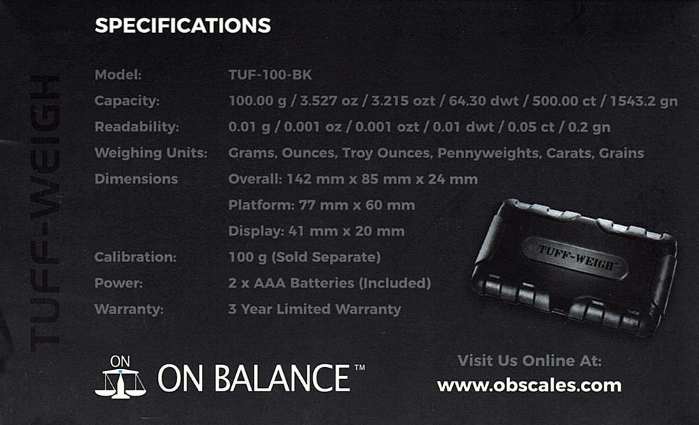 ON BALANCE TUFF-WEIGH SCALE TF-100BK ( 100G X 0.01G ) specs