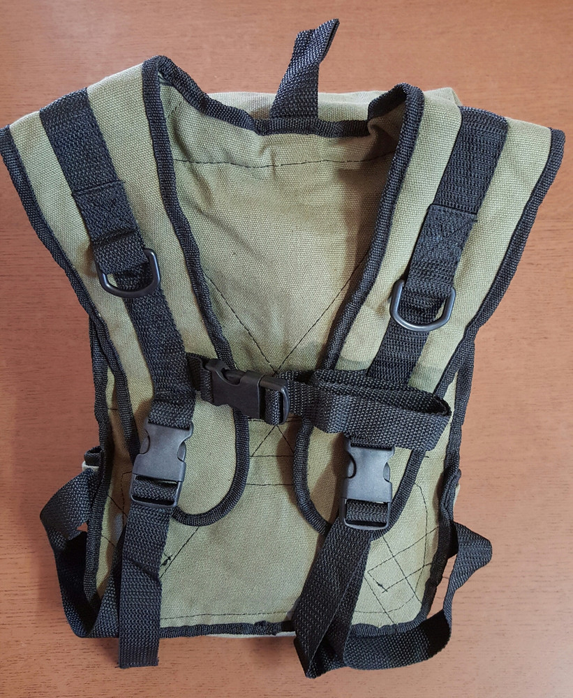 Shingleback Detector Defence range featuring zippered upper & velcro lower section, adjustable shoulder & chest straps. Suitable to mount external speaker plus D rings to attach HipStick. Sits high on shoulders - stays in place while digging. Ideal for the lady detector operator! FRONT