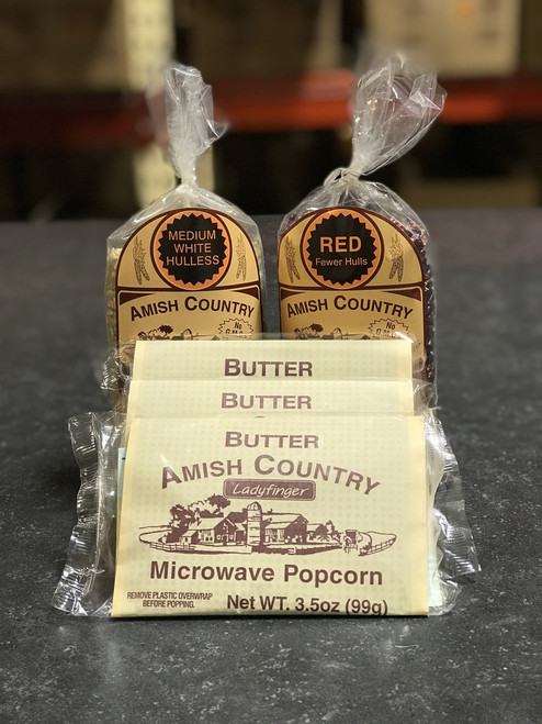 Two 1 Pound Bags of Popcorn and Three Bags of Ladyfinger Butter Microwave Popcorn