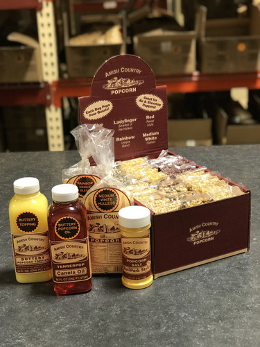1 Sampler Box 2 Oils & 1-6oz. Salt & 2 One Pound Non-GMO Popcorn Bags
