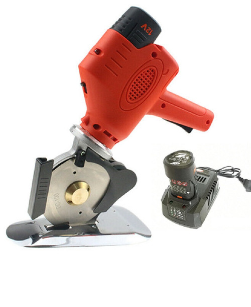"""Cordless Fabric Cutter Round 4"""" 100 mm Electronic Knife Cutting Machine w/ 2 Lithium Batteries"""