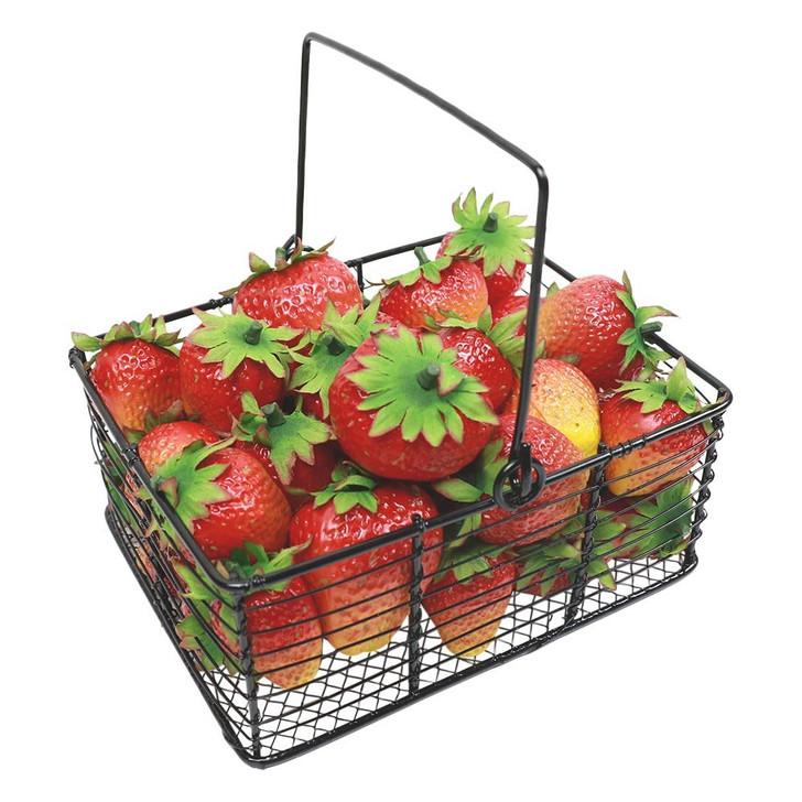 36 pieces of Garden Picked Strawberries in Metal Basket