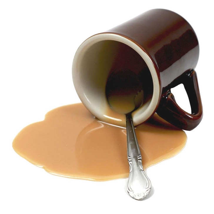 Fake Coffee Spill in Brown Mug with Spoon