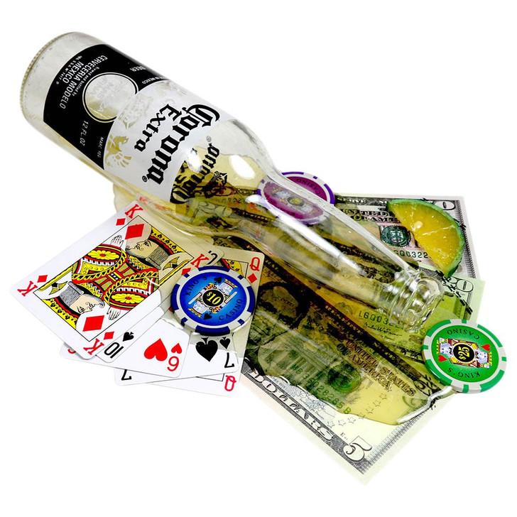 Fake Beer Bottle Spill Over Poker Hand. Drink Spill.