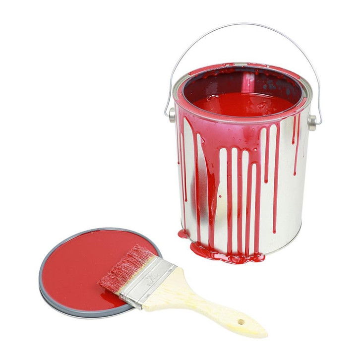 One Gallon Red Paint Can Spill