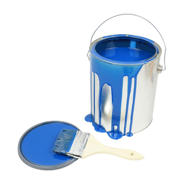 One Gallon Blue Paint Can Spill