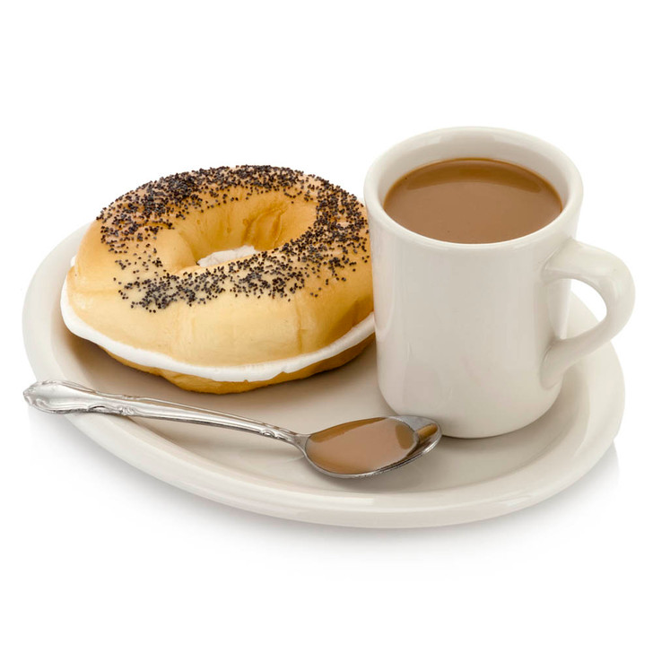 Breakfast Plate - Coffee Mug And Bagel With Cream Cheese
