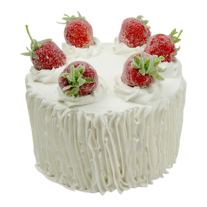 Sugar Strawberries on White Iced Cake