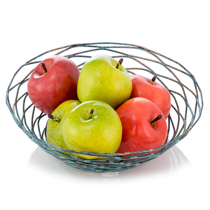 Green & Red Apples in Decorative Wire Bowl