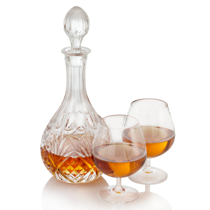 """Crystal Whiskey/Brandy Decanter with large Brandy Snifters - 6"""" x 4"""""""