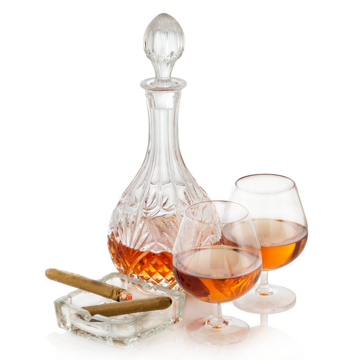 Crystal Whiskey/Brandy Decanter with a pair of Brandy Snifters and Cigars on Ashtray