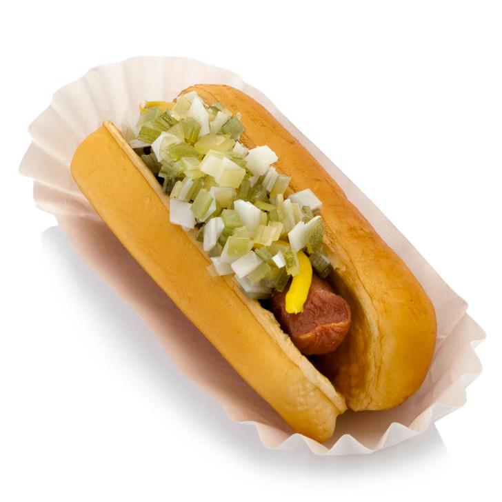 Hot Dog On Bun With Relish And Onions