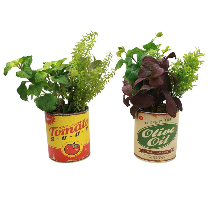 Set of 2 Herbs in Antique Food Cans