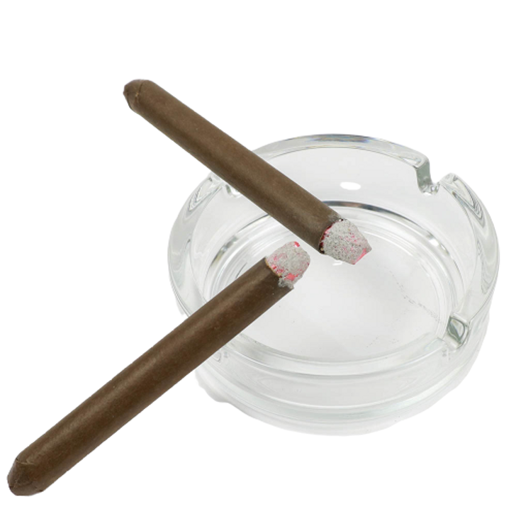 Glass ashtray with 2 faux burning cigar.