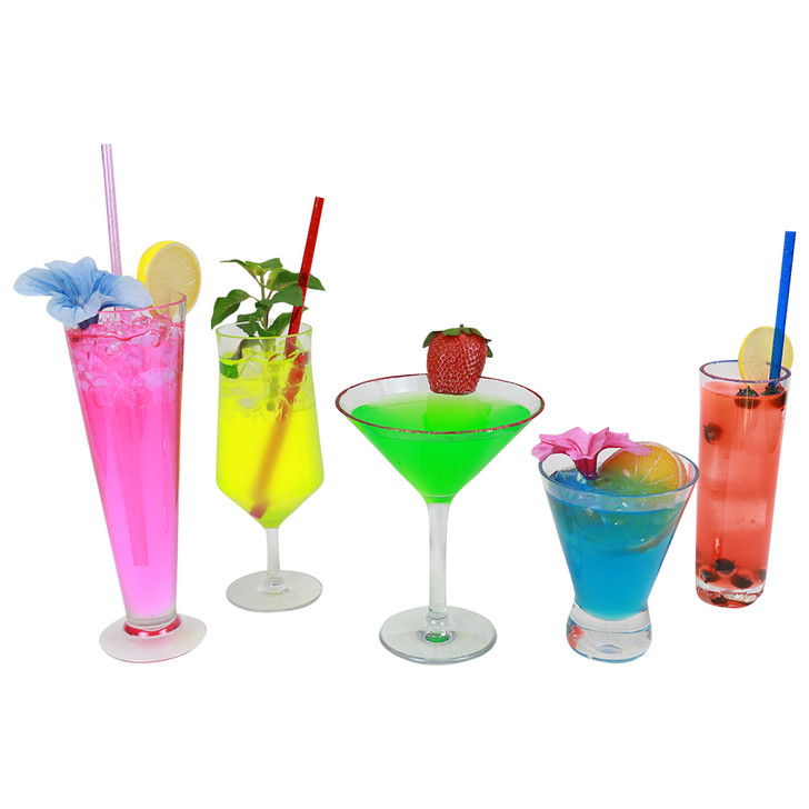 Realistic Fake Deluxe Fluorescent 5 Piece Drink Set