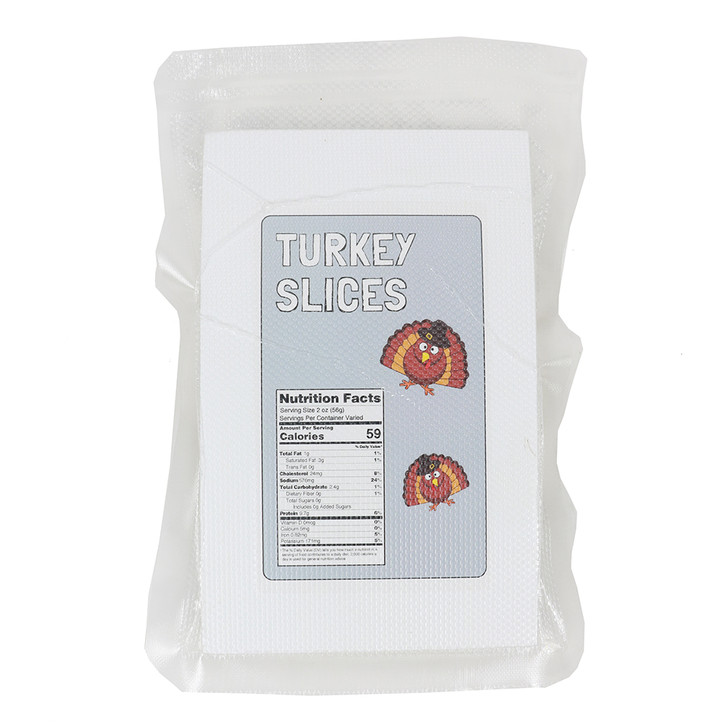 Front Sliced Turkey in a vacuum sealed package bag with label.