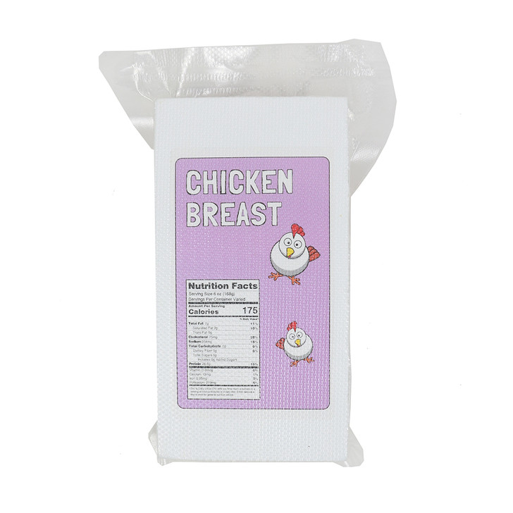 Front Raw Chicken Breast in a vacuum sealed package bag with label.