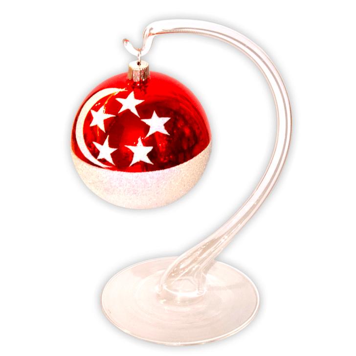 Singapore Flag with Glass Display Stand Set Bullarum