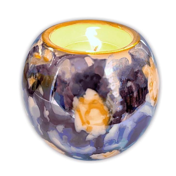 Candle Holder Barrel Marble Blue Azur