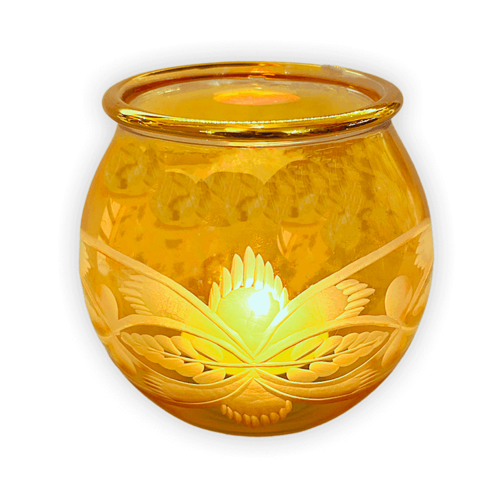 Candle Holder Tumbler Etched Amber