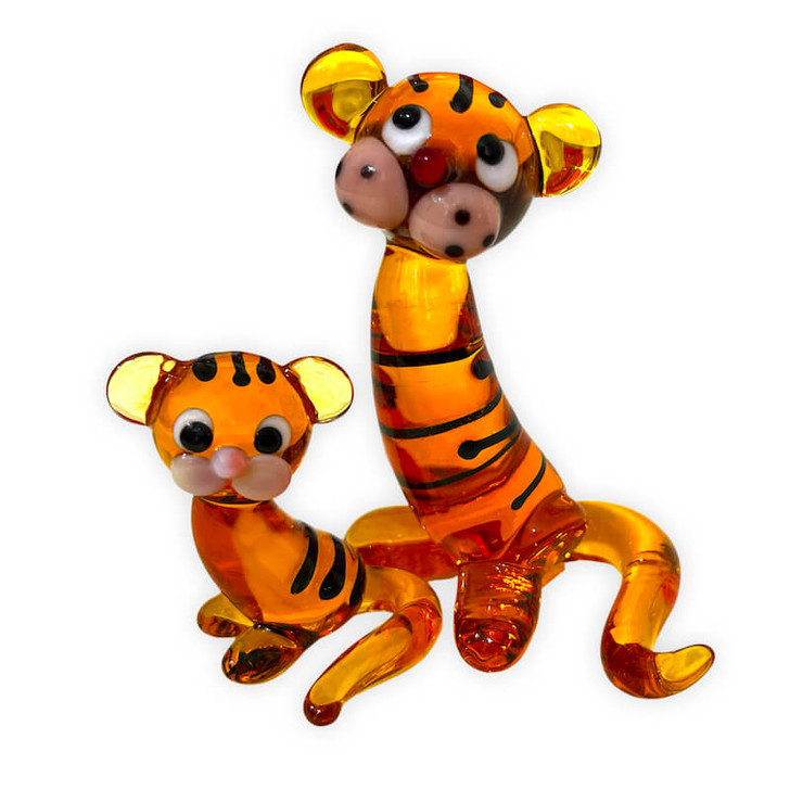 Tiger Couple Mother and Baby Glass Murano Glass Type Ornament