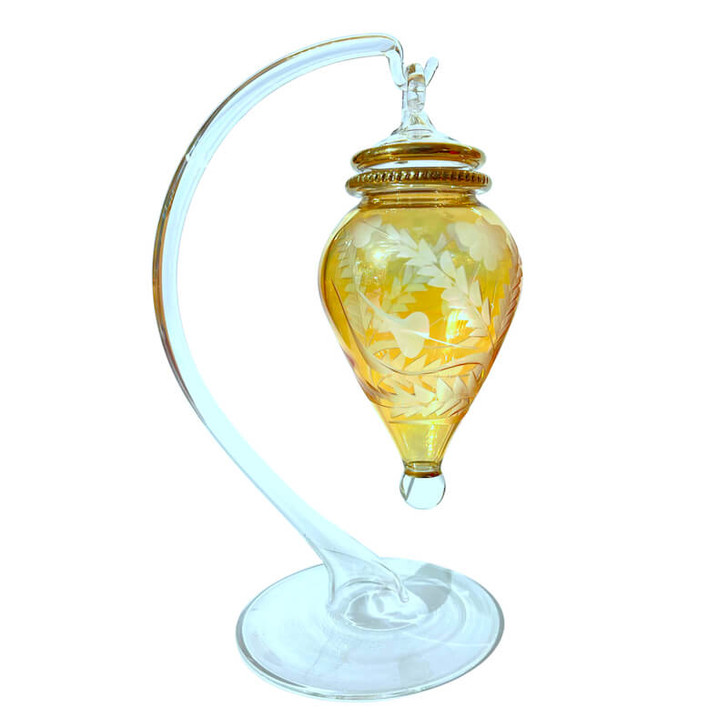 Amphora Etched Glass Ornament Display Stand