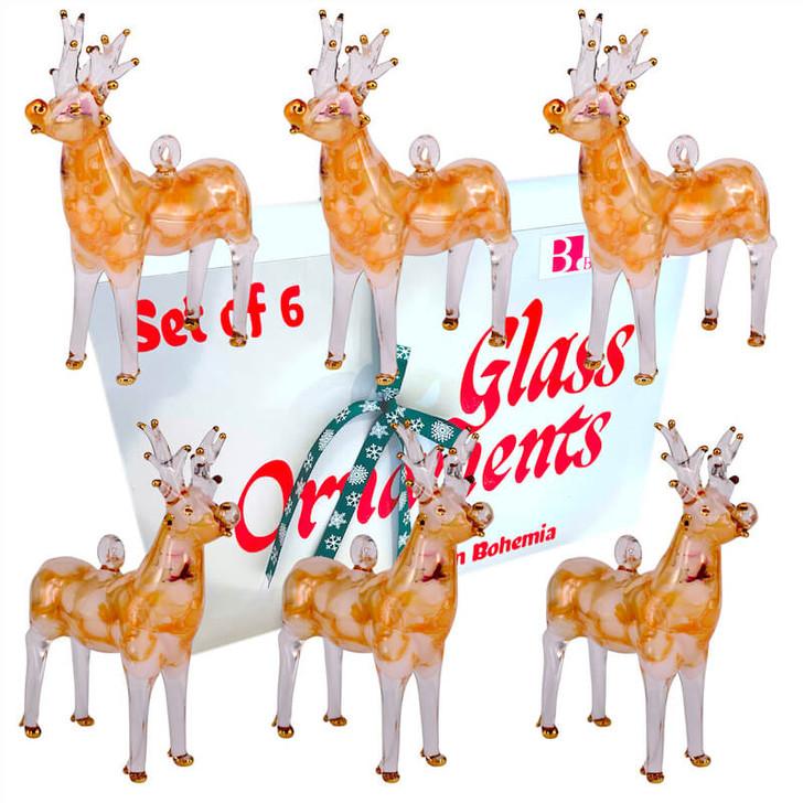 Reindeer Glass Ornament Set of 6