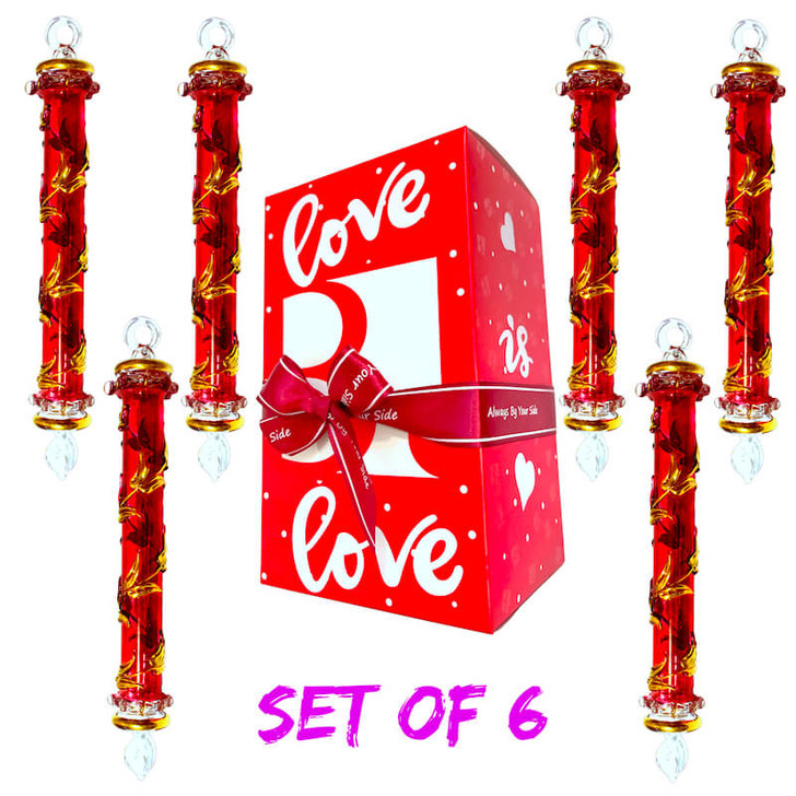 Sceptre Red Glass Ornament Set of 6