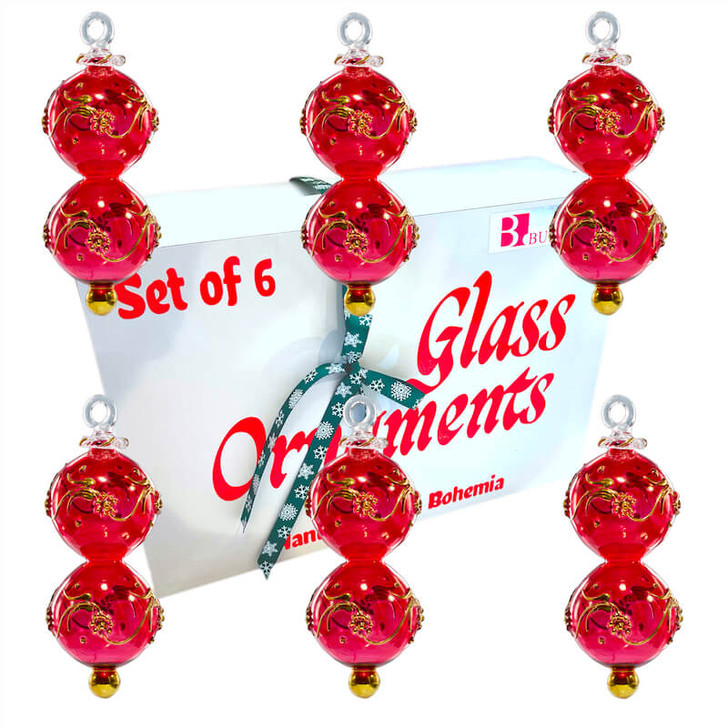 Lucky Eight Red Ornament Set of 6